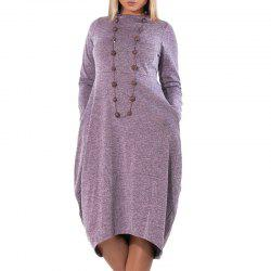 Loose Casual Irregular Women Dress Big Sizes Autumn Winter Bud Plus Size 5X -