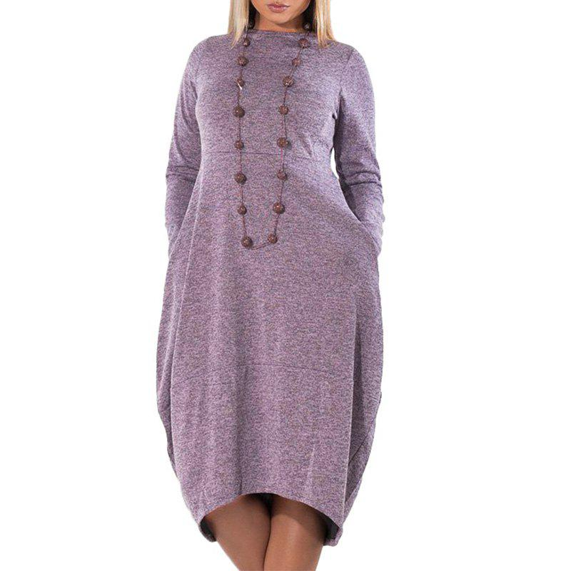 Shop Loose Casual Irregular Women Dress Big Sizes Autumn Winter Bud Plus Size 5X