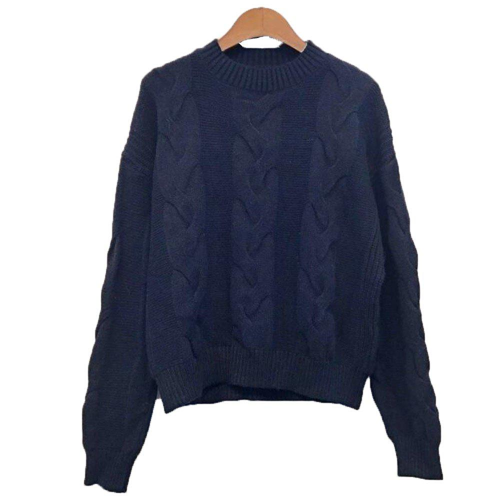 Chic Women's Loose Long Sleeve Round Collar Sweater