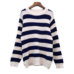 Women's Loose Long Sleeve Striped Sweater -