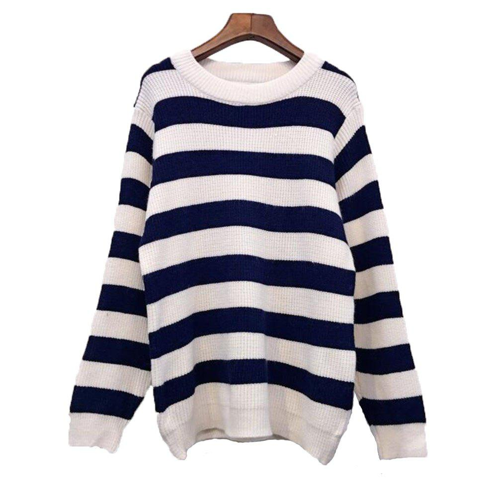 Affordable Women's Loose Long Sleeve Striped Sweater
