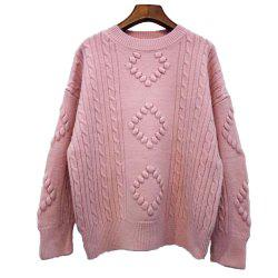 Solid Color Rhombus Loose Round Collar Sweater -