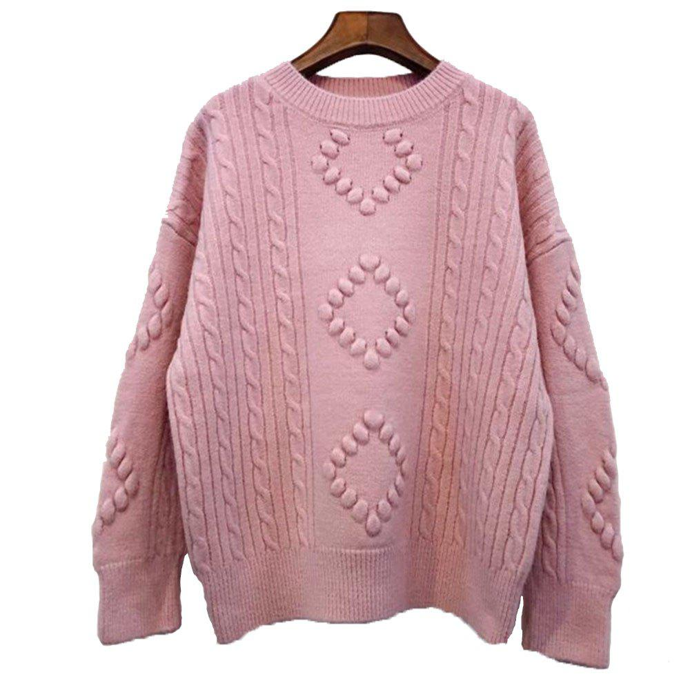 Latest Solid Color Rhombus Loose Round Collar Sweater