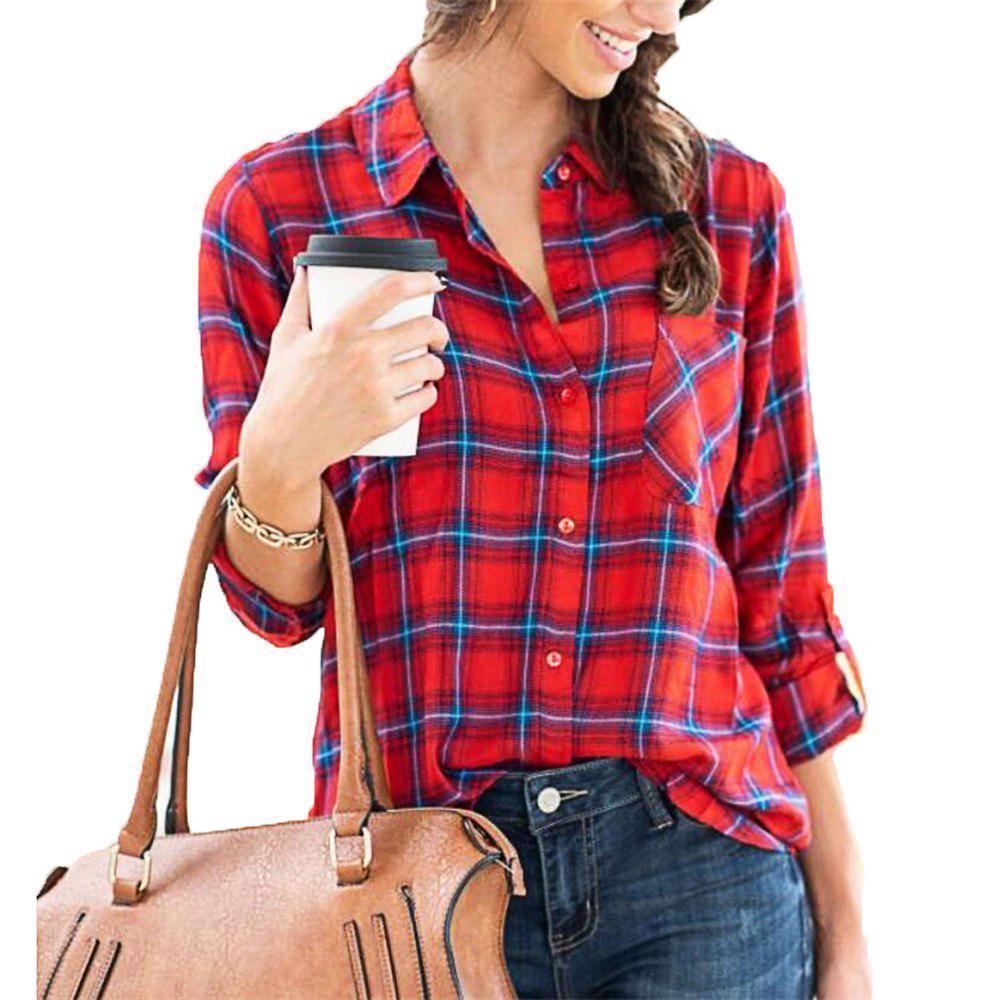 Unique Women's Long Sleeve Plaid Shirt