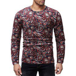 Men's Casual Printed Round Neck Long Sleeve T-Shirt -