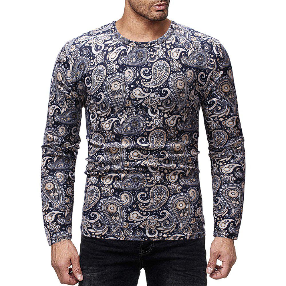 Trendy Men's Casual Printed Round Neck Long Sleeve T-Shirt
