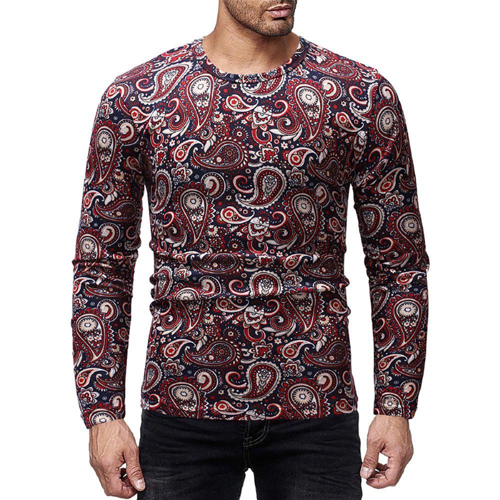 Store Men's Casual Printed Round Neck Long Sleeve T-Shirt