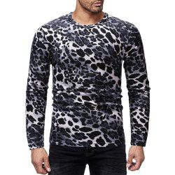Men's Casual Leopard Print Crew Neck Long Sleeve T-Shirt -