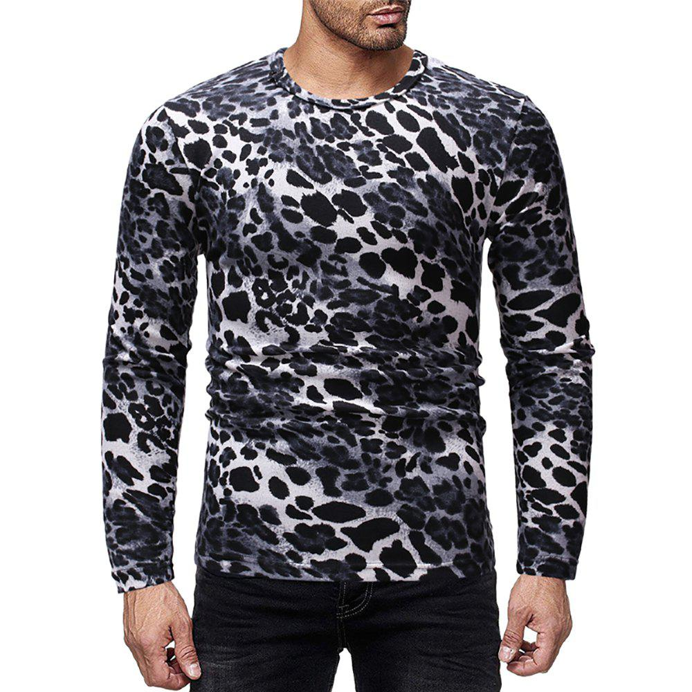 Store Men's Casual Leopard Print Crew Neck Long Sleeve T-Shirt