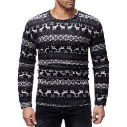 Men's Casual Deer Print Crew Neck Long Sleeve T-Shirt -