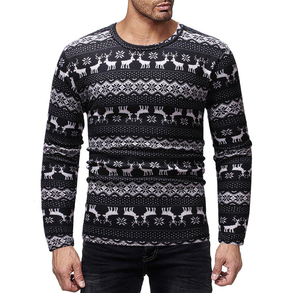 Fashion Men's Casual Deer Print Crew Neck Long Sleeve T-Shirt