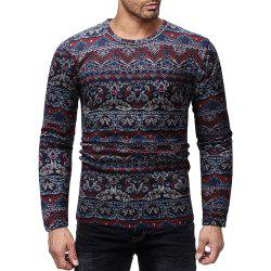 Men's Casual Slim Printed Round Neck Long Sleeve T-shirt -
