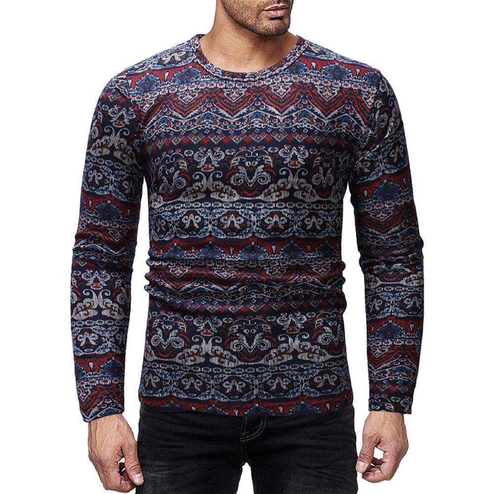 Outfits Men's Casual Slim Printed Round Neck Long Sleeve T-shirt