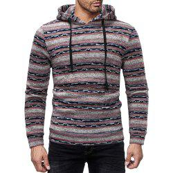 Men's Casual Striped Print Crew Neck Long Sleeve Hoodie -