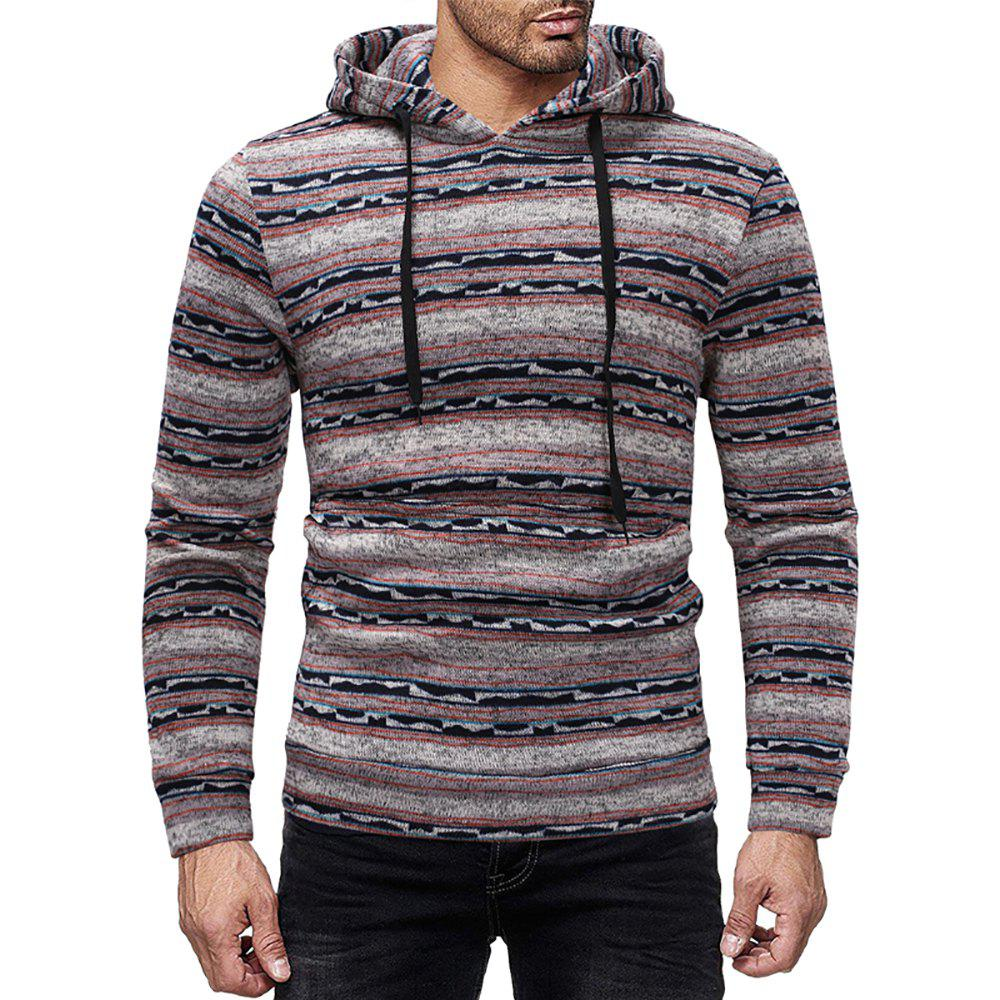Buy Men's Casual Striped Print Crew Neck Long Sleeve Hoodie