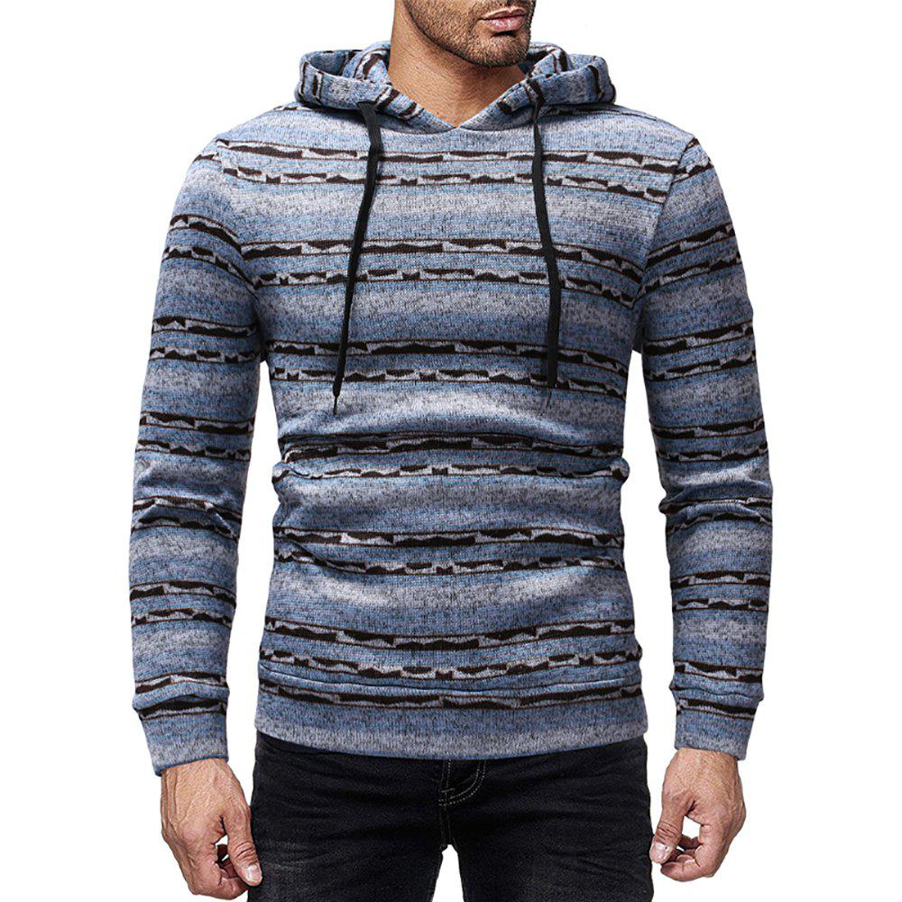 Cheap Men's Casual Striped Print Crew Neck Long Sleeve Hoodie