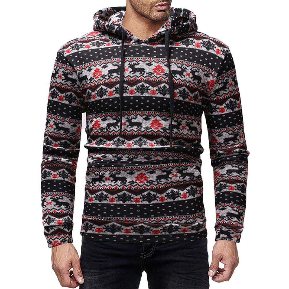 Outfits Men's Casual Rules Deer Print Round Neck Long Sleeve Hoodie