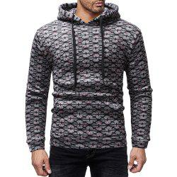 Men's Casual Print Striped Round Neck Long Sleeve Hoodie -
