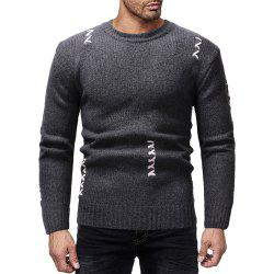 Men's Casual Solid Color Sewn Round Neck Long Sleeve Sweater -