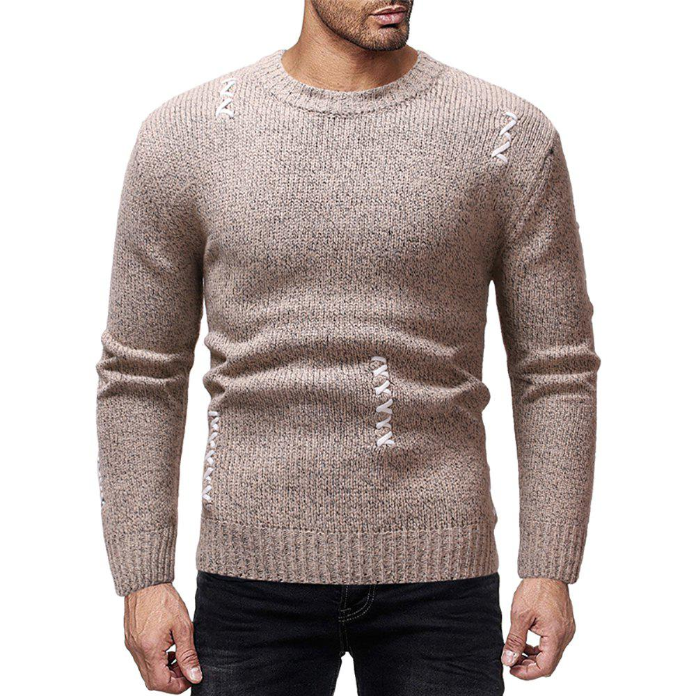 Fancy Men's Casual Solid Color Sewn Round Neck Long Sleeve Sweater