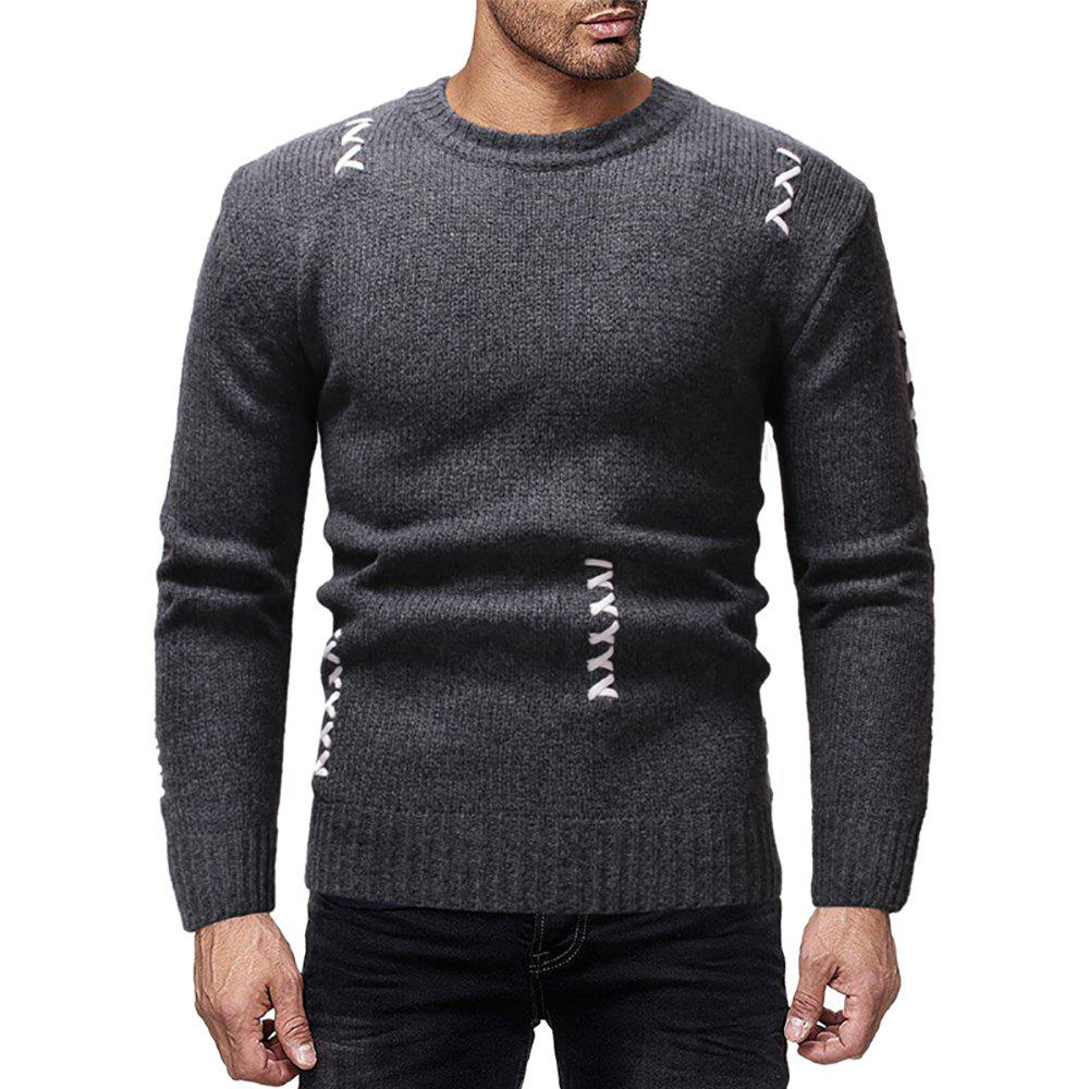 Latest Men's Casual Solid Color Sewn Round Neck Long Sleeve Sweater