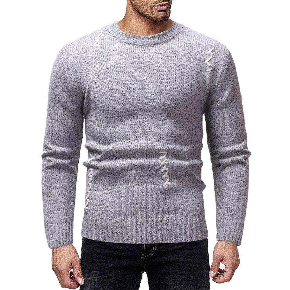 Outfit Men's Casual Solid Color Sewn Round Neck Long Sleeve Sweater
