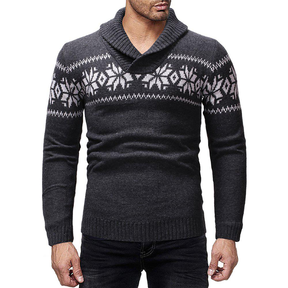 Unique Men's Casual Printed Lapel Long Sleeve Sweater