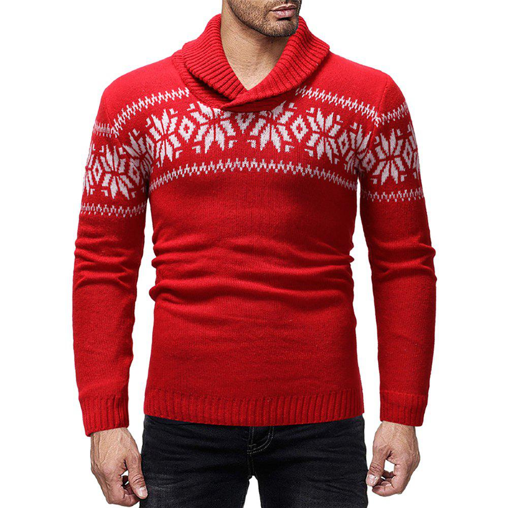 Outfit Men's Casual Printed Lapel Long Sleeve Sweater