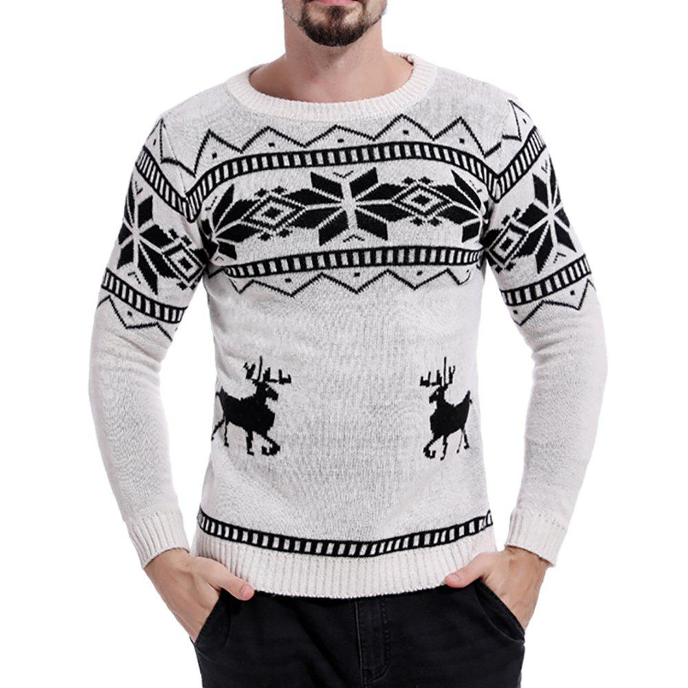 Online Men's Color Matching Round Neck Print Long Sleeve Sweater