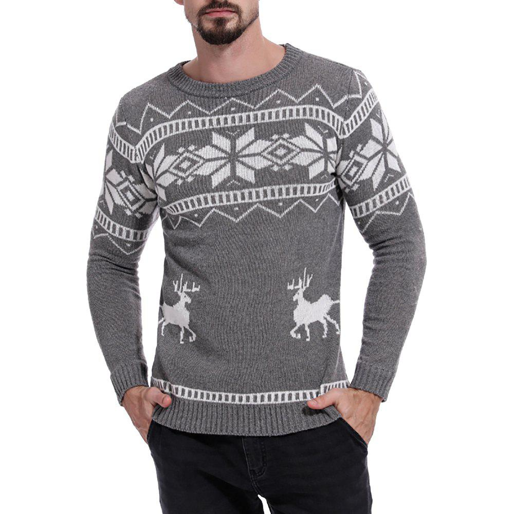 Latest Men's Color Matching Round Neck Print Long Sleeve Sweater