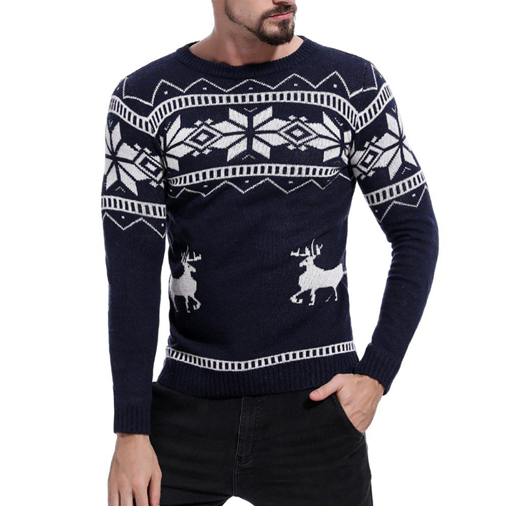 Sale Men's Color Matching Round Neck Print Long Sleeve Sweater