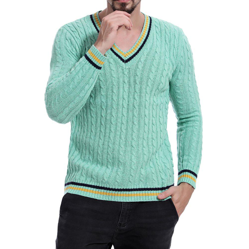 Discount Men's V-neck Striped Print Long-sleeve Sweater