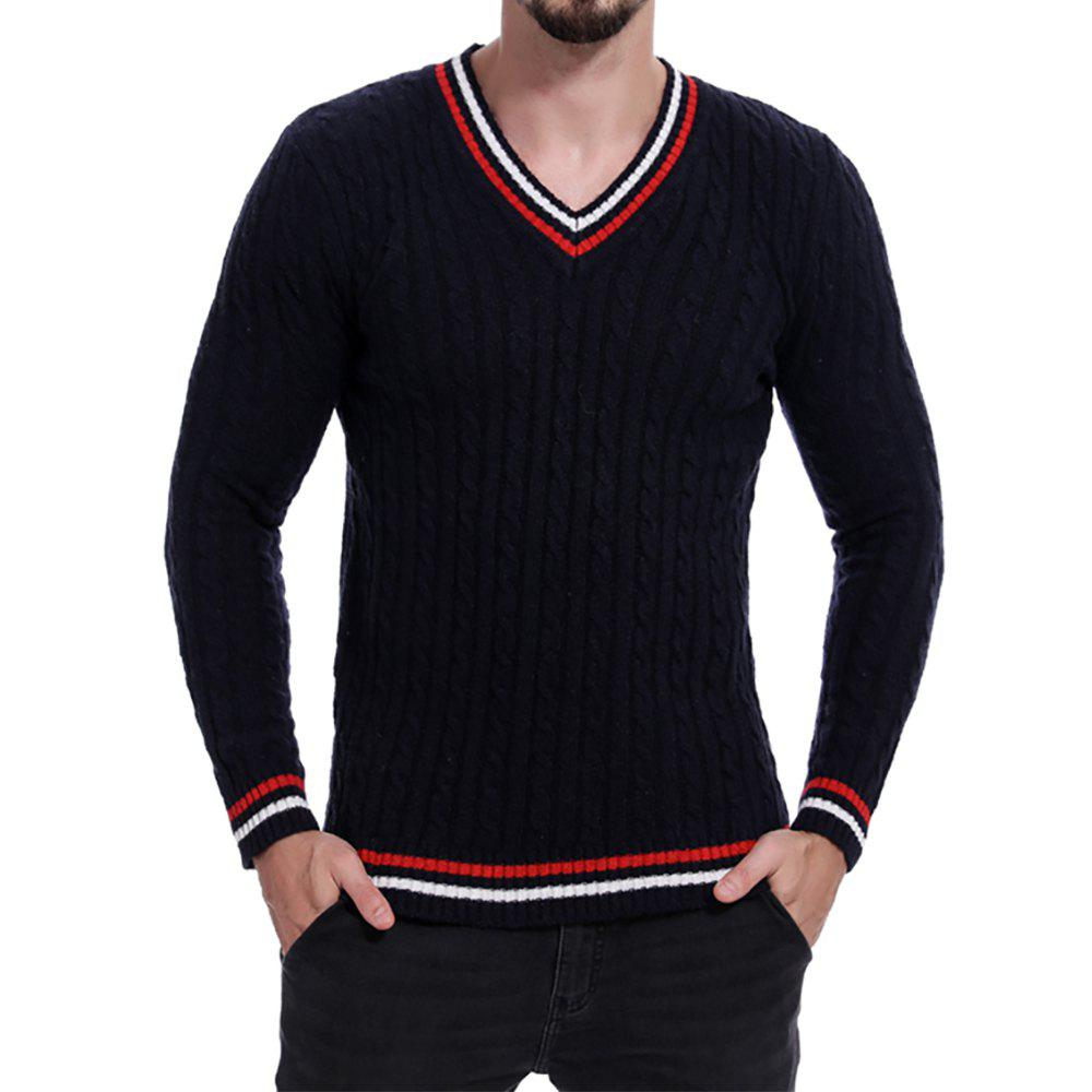 Fashion Men's V-neck Striped Print Long-sleeve Sweater