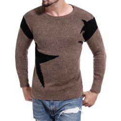 Men's Round Neck Color Casual Long Sleeve Sweater -