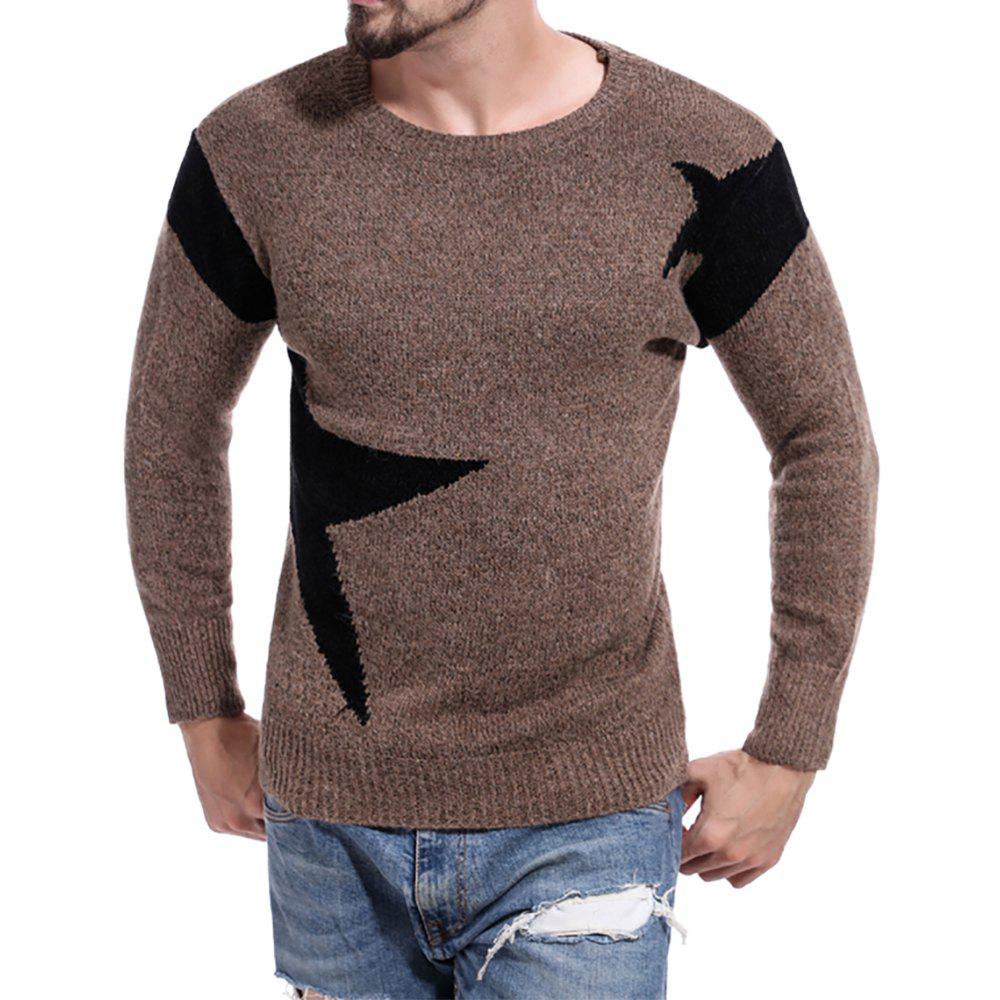 New Men's Round Neck Color Casual Long Sleeve Sweater