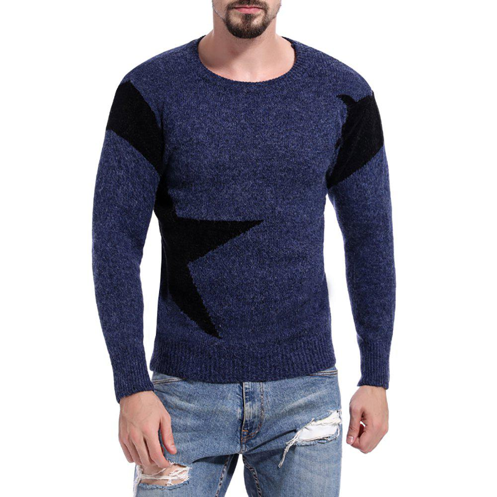 Best Men's Round Neck Color Casual Long Sleeve Sweater