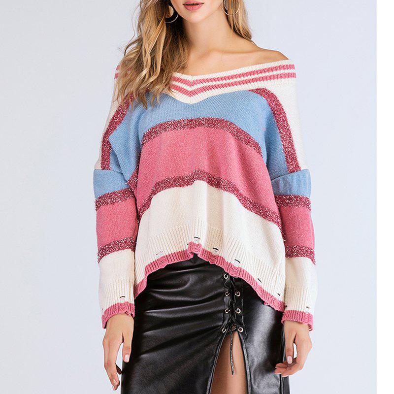 Outfits Long Sleeve V Collar Colour Silk Shiny Sweater