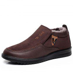 New Slip On Soft Sole Wool Lining Round Toe Flat Warm Shoes For Men -
