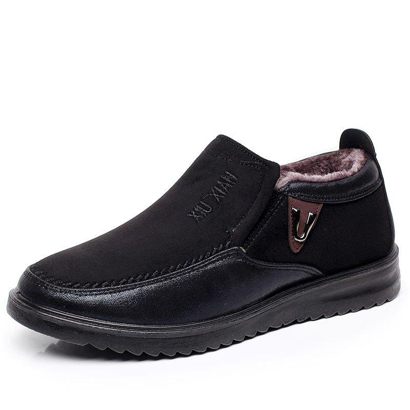 Unique New Slip On Soft Sole Wool Lining Round Toe Flat Warm Shoes For Men