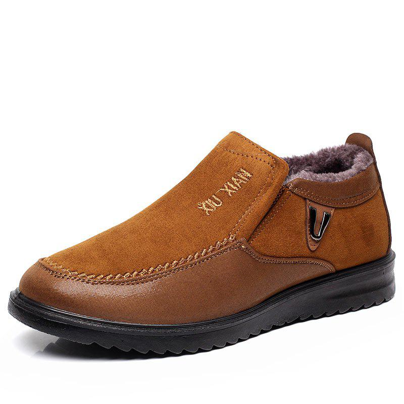 Discount New Slip On Soft Sole Wool Lining Round Toe Flat Warm Shoes For Men