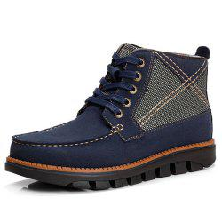 Men Comfortable Hand Stitching Plaid High Top Boots -