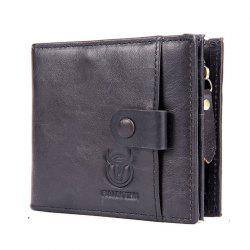 Genuine Leather Men Wallet Small Zipper Male Short Coin Purse Card Holder -