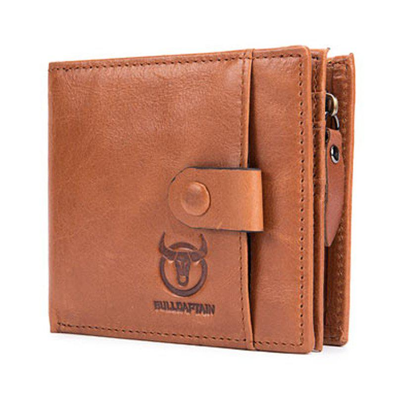 New Genuine Leather Men Wallet Small Zipper Male Short Coin Purse Card Holder