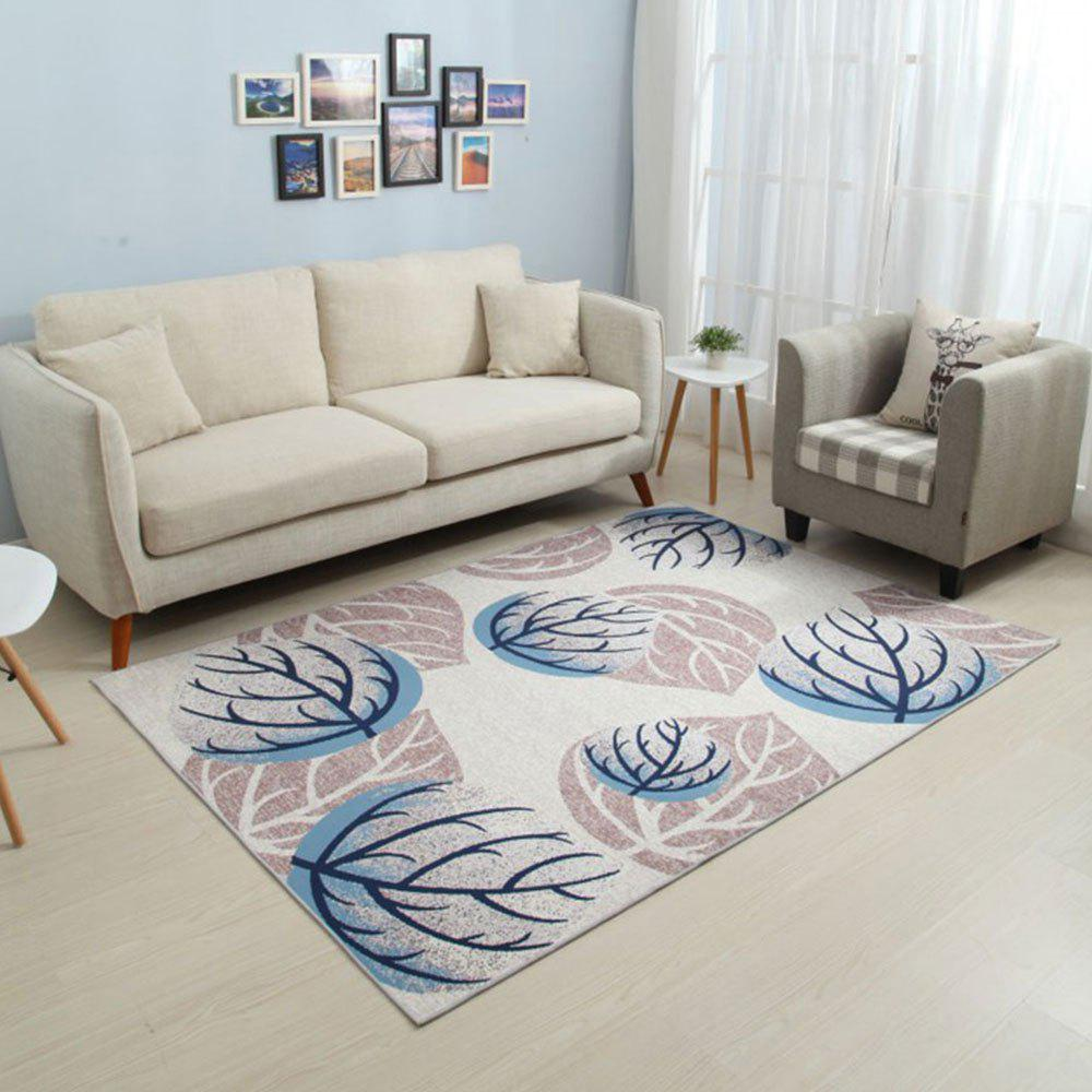Chic Home Non-Slip Mat Brief Plant Printed Rectangular Soft Carpet