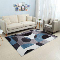 Floor Mat Modern Style Color Block Circle Printed Rectangular Carpet -
