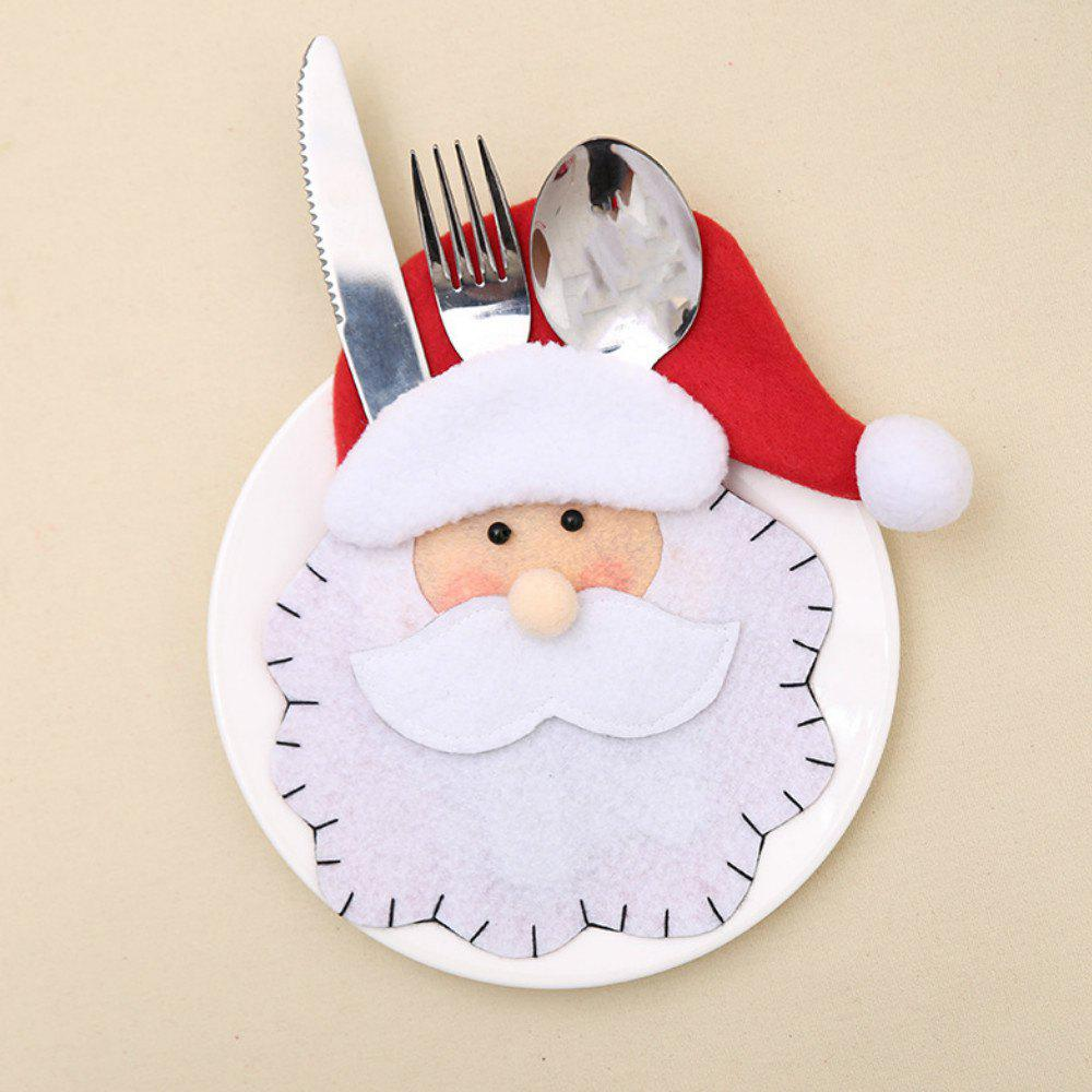 Hot Santa Claus  Cutlery Holder Bags Fork Spoon Pockets Decor