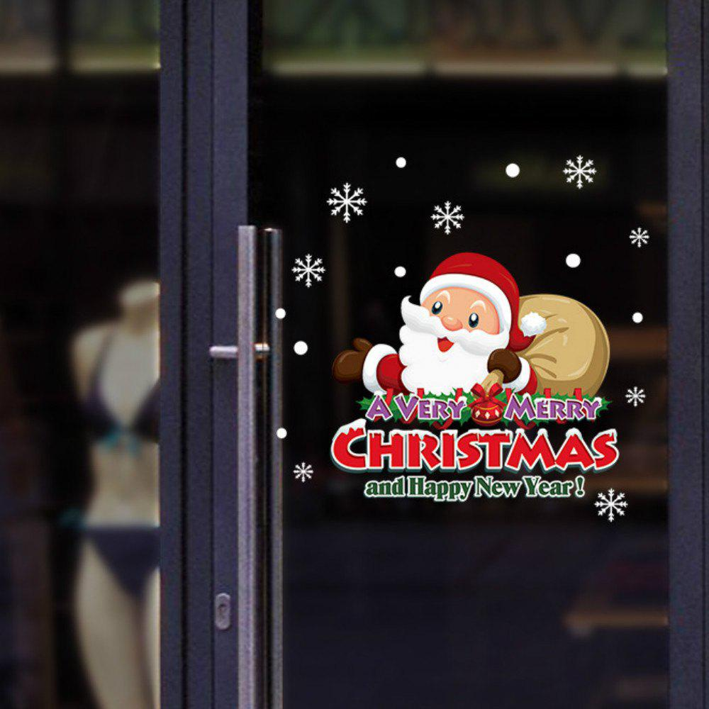 Outfit Merry Christmas Wall Stickers Window Glass Festival Decals Santa Murals