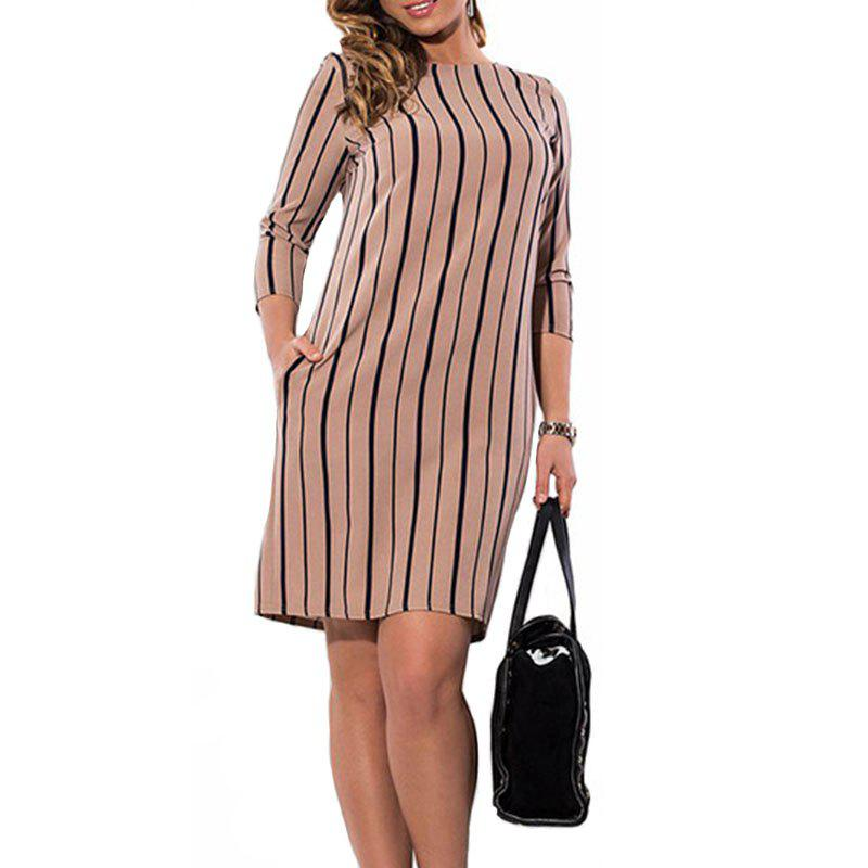 Affordable 3/4 Length Sleeve Stripe Dress
