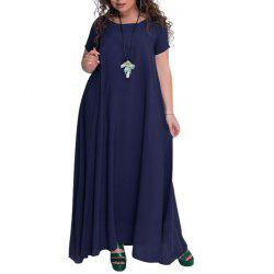 Solid Color Round Collar Long Dress -
