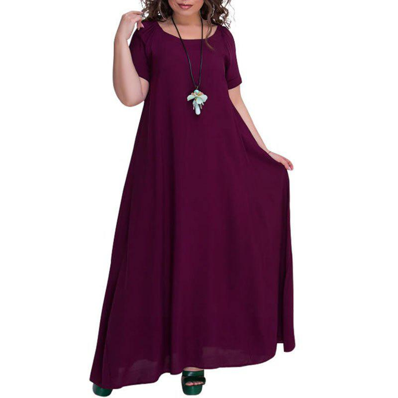 Sale Solid Color Round Collar Long Dress